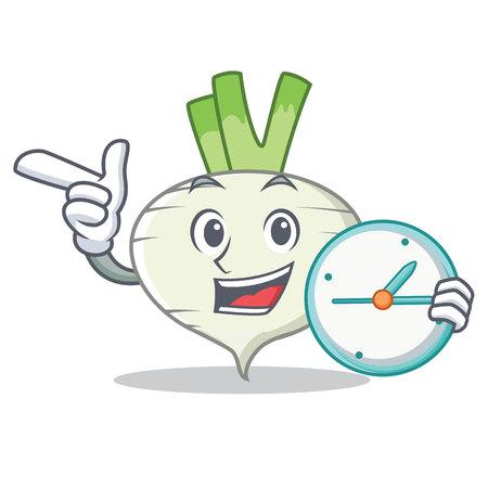 With clock turnip character cartoon style vector illustration