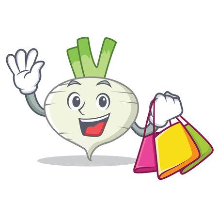 Shopping turnip character cartoon style vector illustration