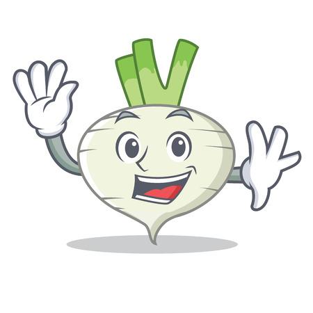 Waving turnip character cartoon style  イラスト・ベクター素材