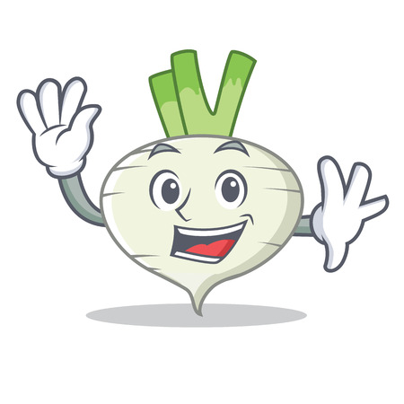 Waving turnip character cartoon style 일러스트
