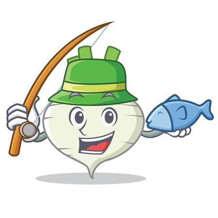Fishing turnip mascot cartoon style Illustration