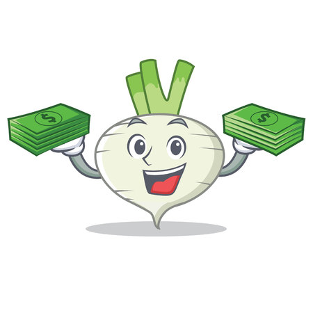 With money turnip mascot cartoon style