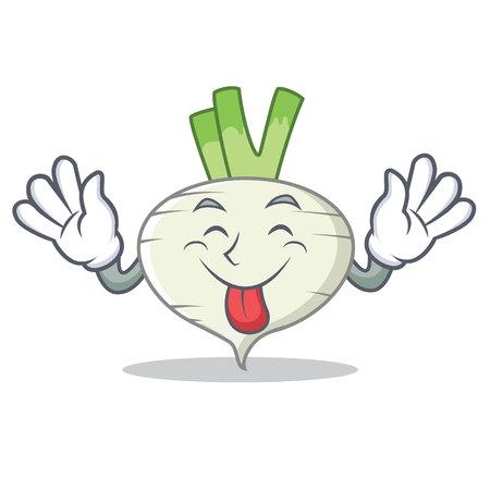 Tongue out turnip mascot cartoon style