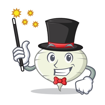 Magician turnip mascot cartoon style