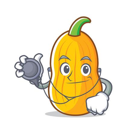 Doctor butternut squash character cartoon illustration. Illustration