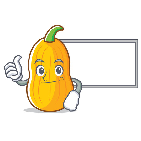 Thumbs up with board butternut squash character cartoon Illustration
