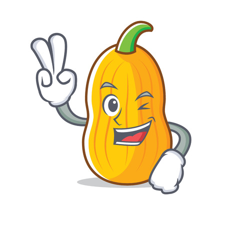 Two finger butternut squash character cartoon