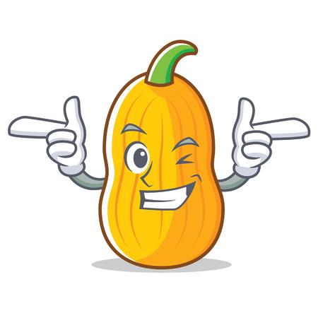 Wink butternut squash character cartoon Illustration