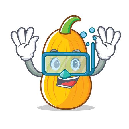 Diver butternut squash character Illustration