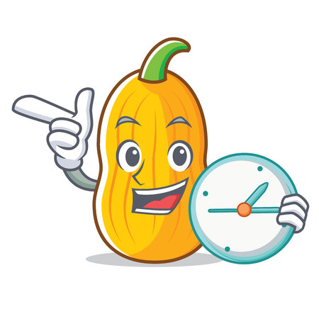 With clock butternut squash character cartoon vector illustration