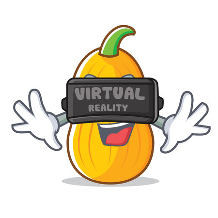 With virtual reality butternut squash mascot cartoon illustration.