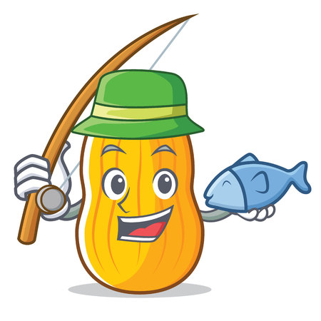 Fishing butternut squash mascot cartoon illustration. 일러스트