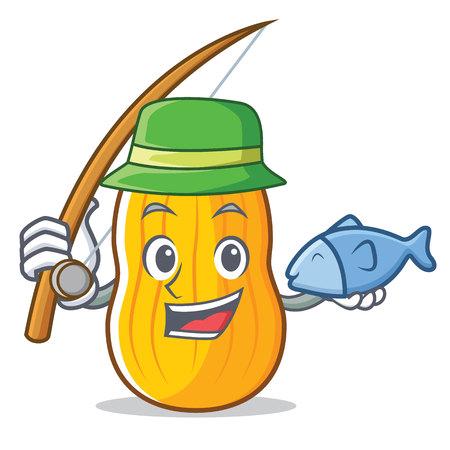 Fishing butternut squash mascot cartoon illustration. Illustration