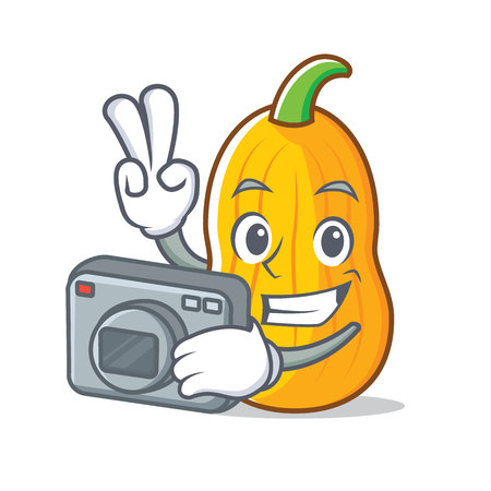 Photographer butternut squash mascot cartoon illustration. Illustration