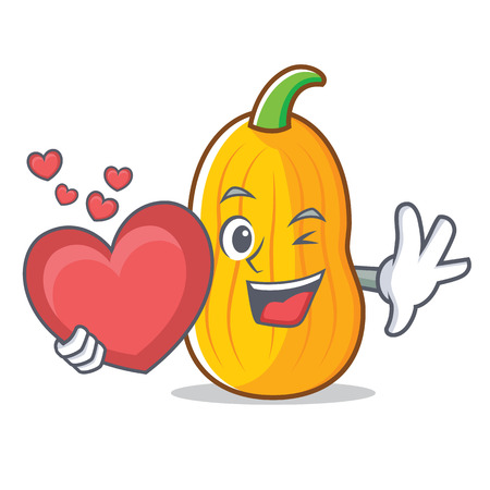 With heart butternut squash mascot cartoon illustration.
