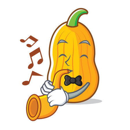 With trumpet butternut squash mascot cartoon illustration. 向量圖像