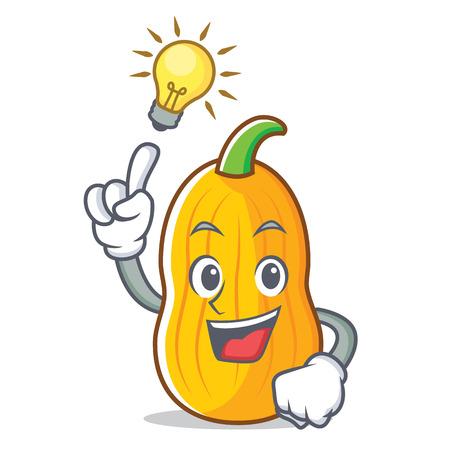 Have an idea butternut squash mascot cartoon illustration.