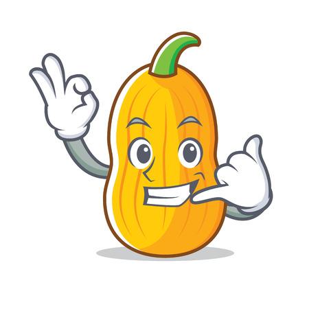 Call me butternut squash mascot cartoon illustration.