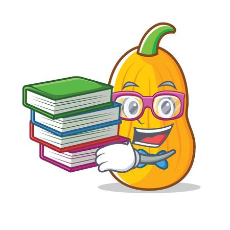 Student with book butternut squash mascot cartoon