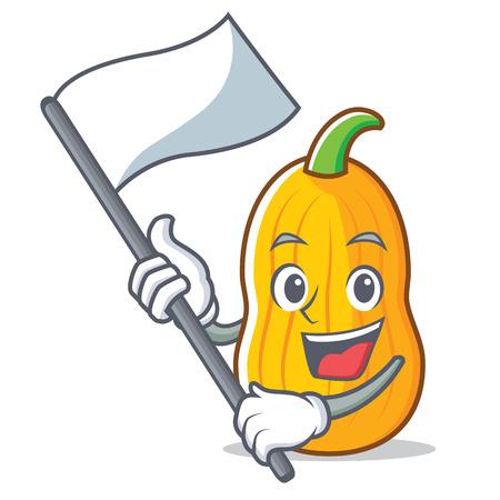 With flag butternut squash mascot cartoon
