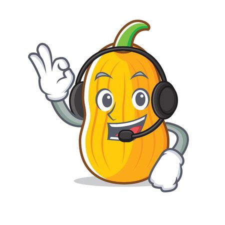 With headphone butternut squash mascot cartoon