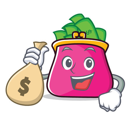 With money bag purse character cartoon style