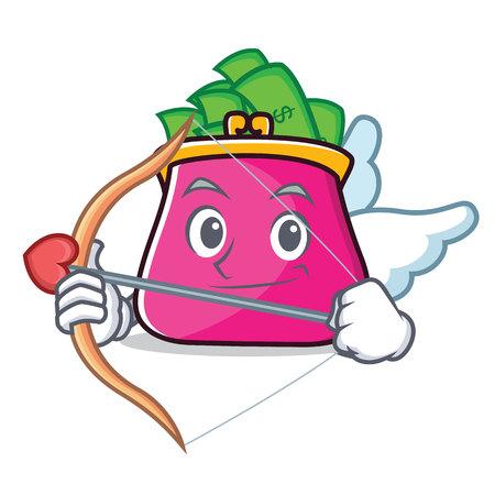 Cupid purse character cartoon style vector illustration Illustration