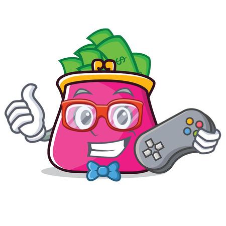 Gamer purse character cartoon style
