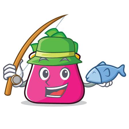 Fishing purse character cartoon style