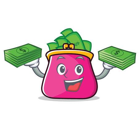 With money purse character cartoon style vector illustration Illustration