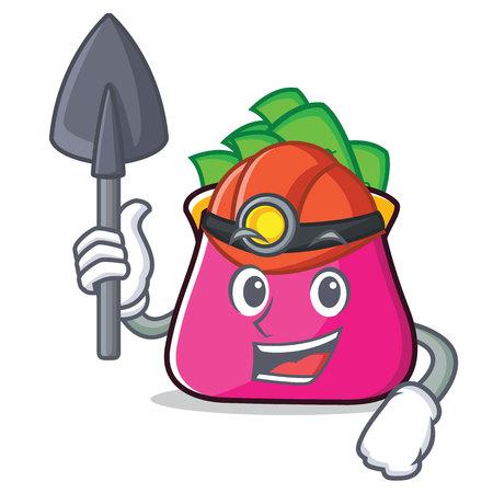 Miner purse character cartoon style vector illustration Illustration