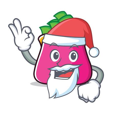 Santa purse character cartoon style vector illustration