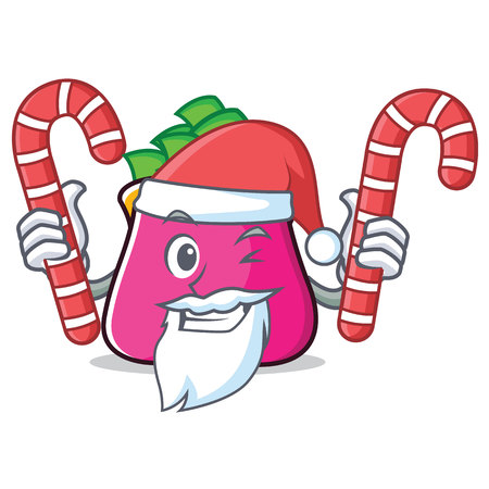 Santa with candy purse character cartoon style vector illustration