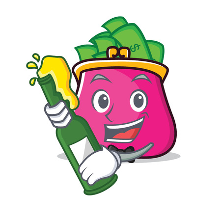 With beer purse character cartoon style Illustration