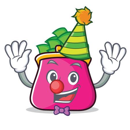 Clown purse character cartoon style Vettoriali