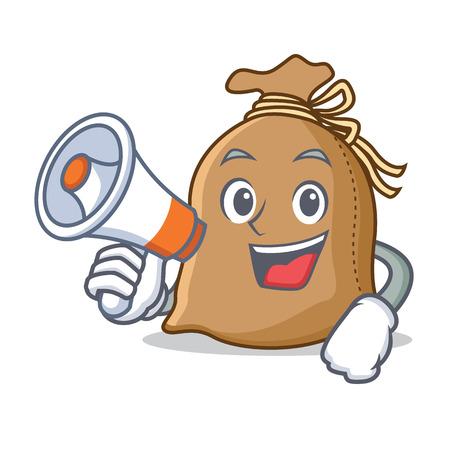 With megaphone sack character cartoon style vector illustration Illustration