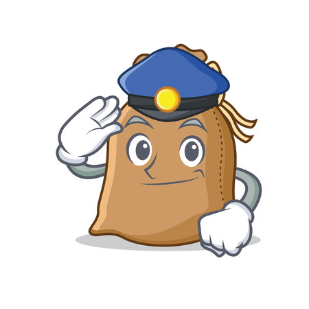 Police sack character cartoon style vector illustration