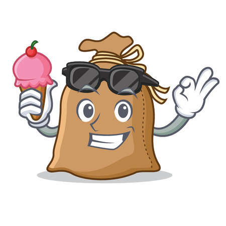With ice cream sack character cartoon style vector illustration