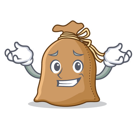 Grinning sack character cartoon style vector illustration