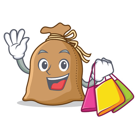 Shopping sack character cartoon style Illustration