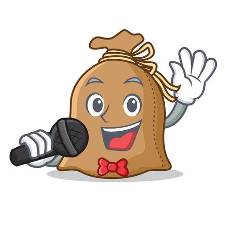 Singing sack mascot cartoon style Illustration