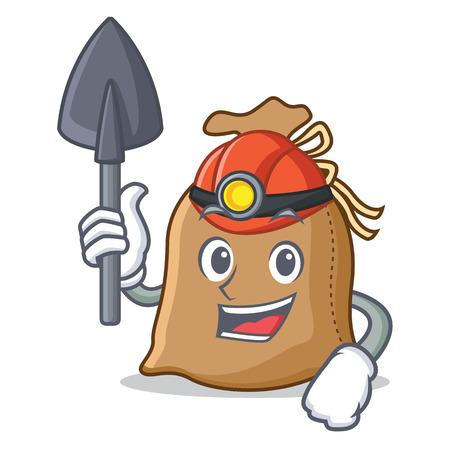Miner sack mascot cartoon style Illustration