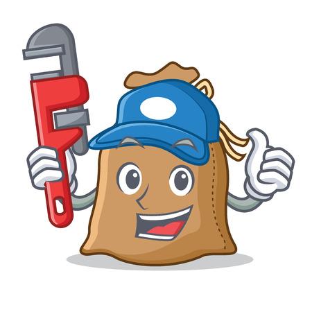 Plumber sack mascot cartoon style
