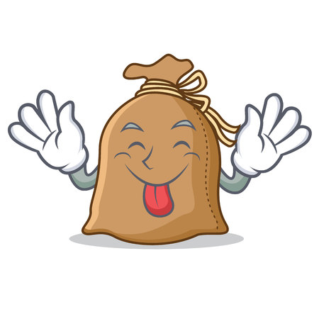 Tongue out sack mascot cartoon style Illustration