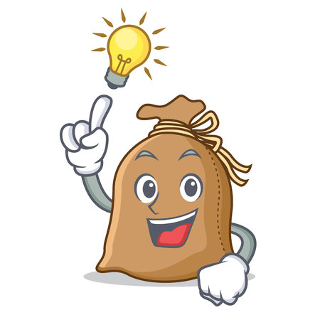 Have an idea sack mascot cartoon style
