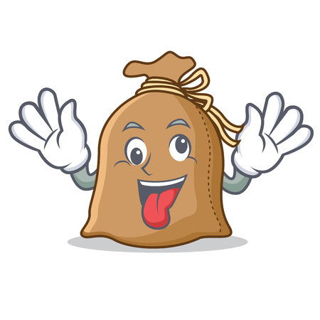 Crazy sack mascot cartoon style vector illustration Vettoriali