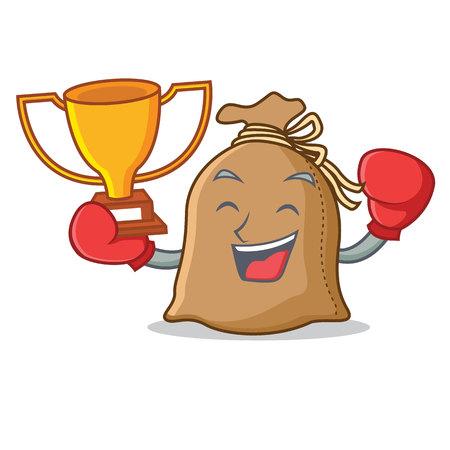 Boxing winner sack mascot cartoon style
