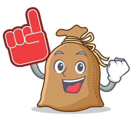 Foam finger sack mascot cartoon style