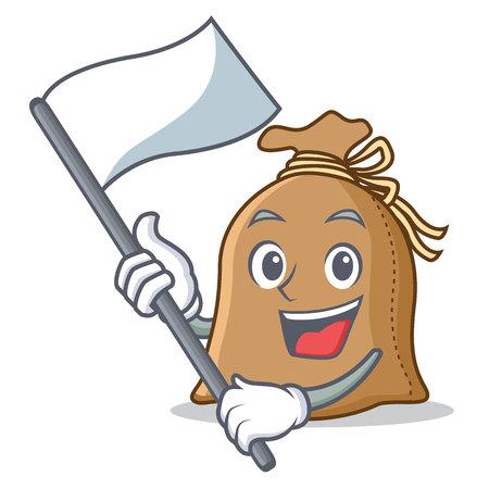 With flag sack mascot cartoon style vector illustration