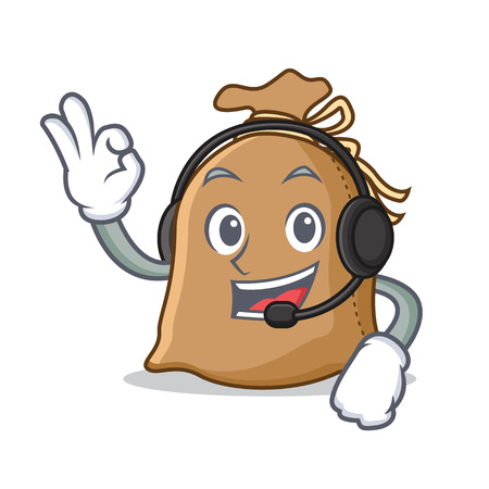 With headphone sack mascot cartoon style